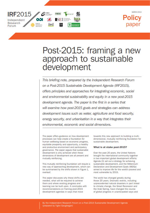Post-2015 Framing A New Approach to Sustainable Development - ASK-us ...