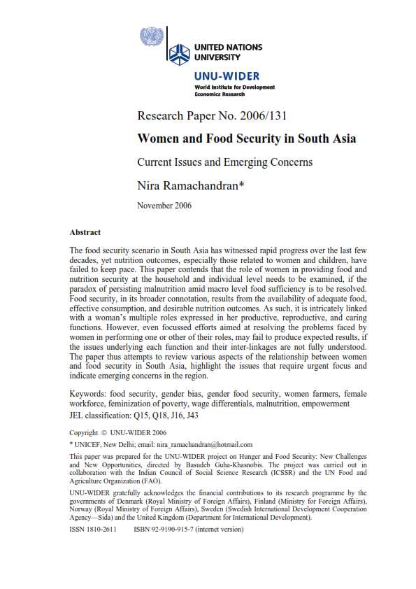 research paper on food security